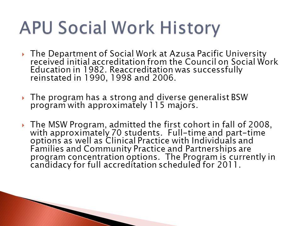 APU Social Work History