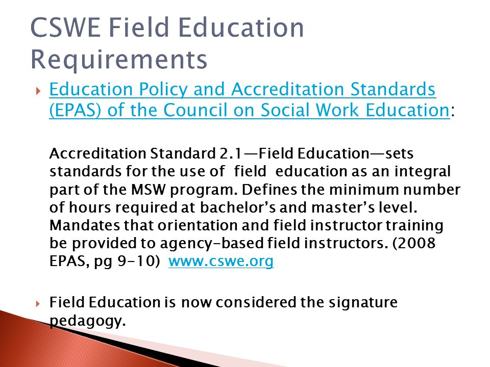 CSWE Field Education Requirements