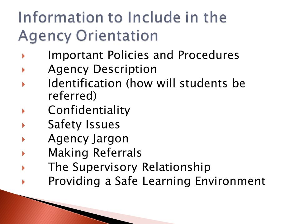 Information to Include in the Agency Orientation