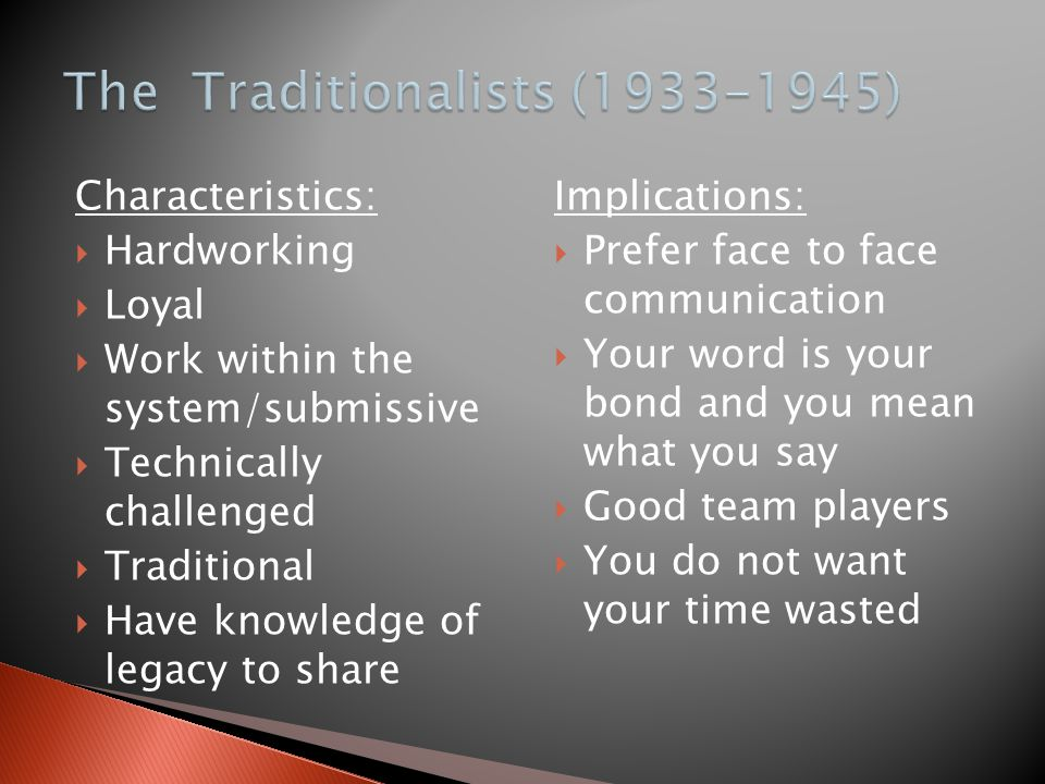 The Traditionalists (1933-1945)