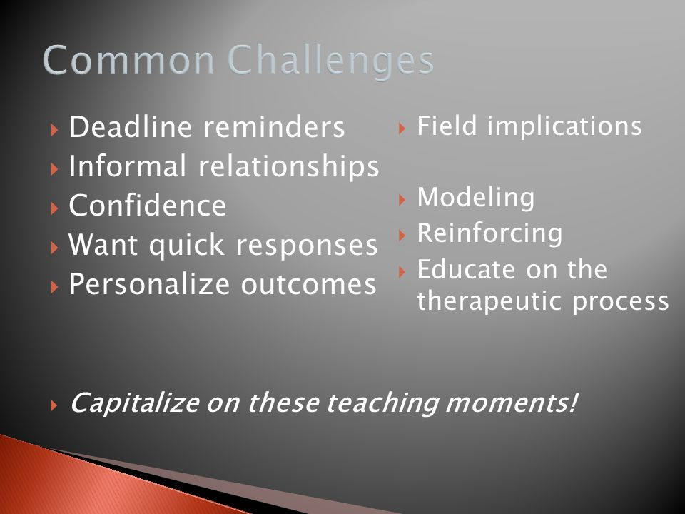 Common Challenges Deadline reminders Informal relationships Confidence
