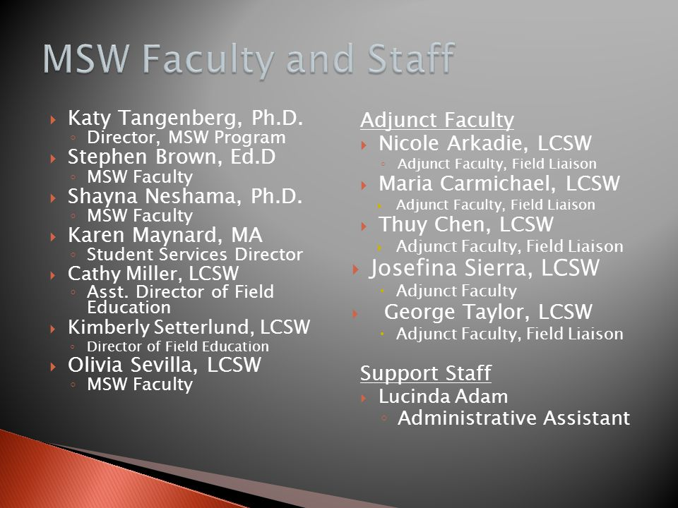 MSW Faculty and Staff Josefina Sierra, LCSW Katy Tangenberg, Ph.D.
