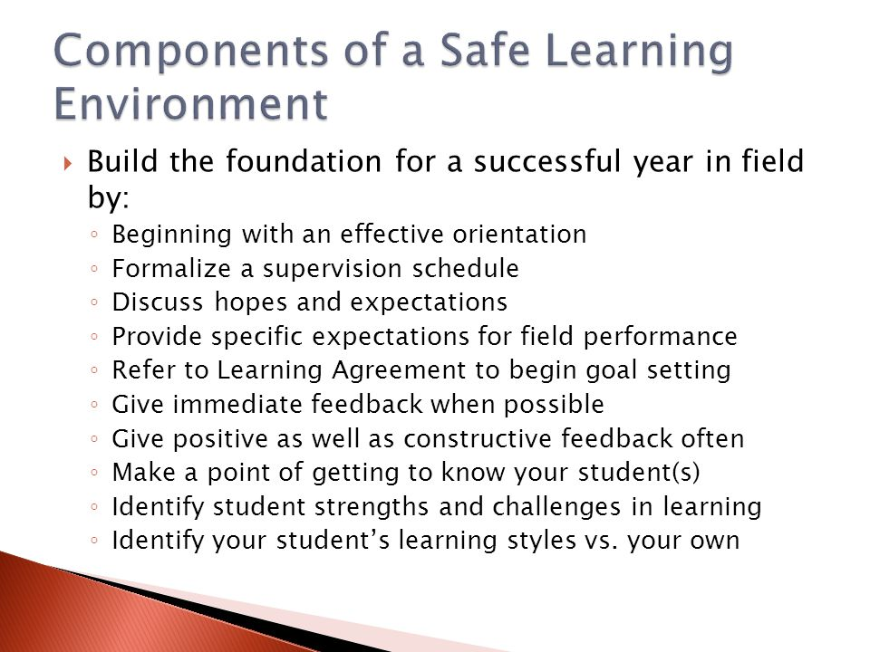 Components of a Safe Learning Environment
