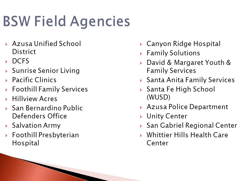 BSW Field Agencies Azusa Unified School District DCFS