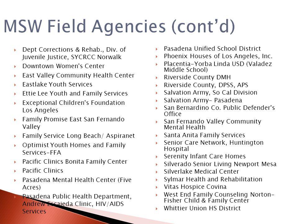 MSW Field Agencies (cont'd)