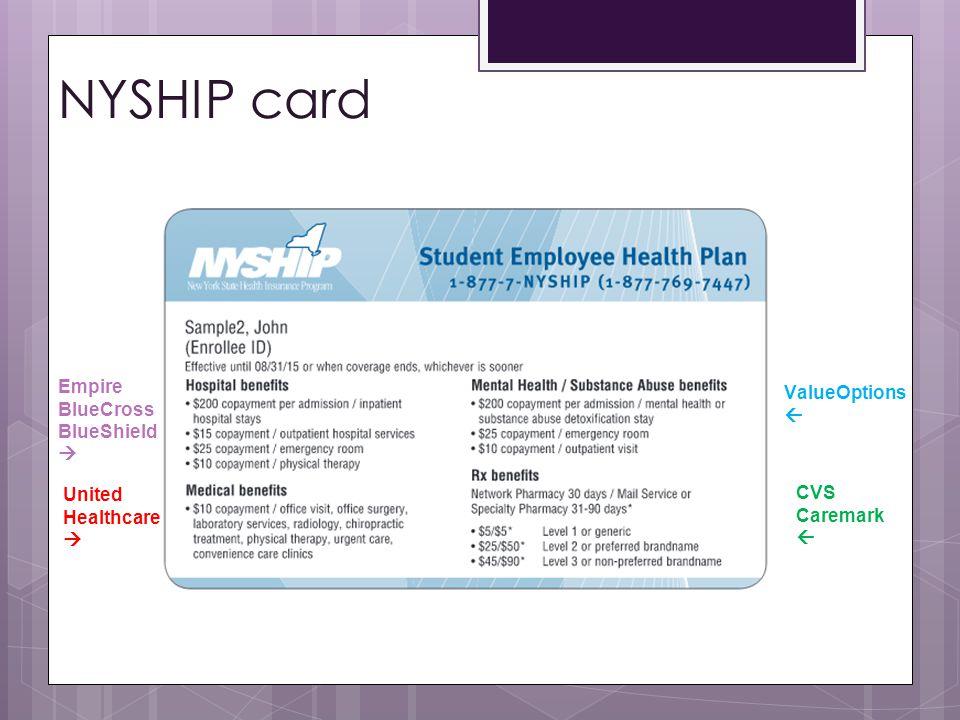 NYSHIP card Empire BlueCross BlueShield ValueOptions  