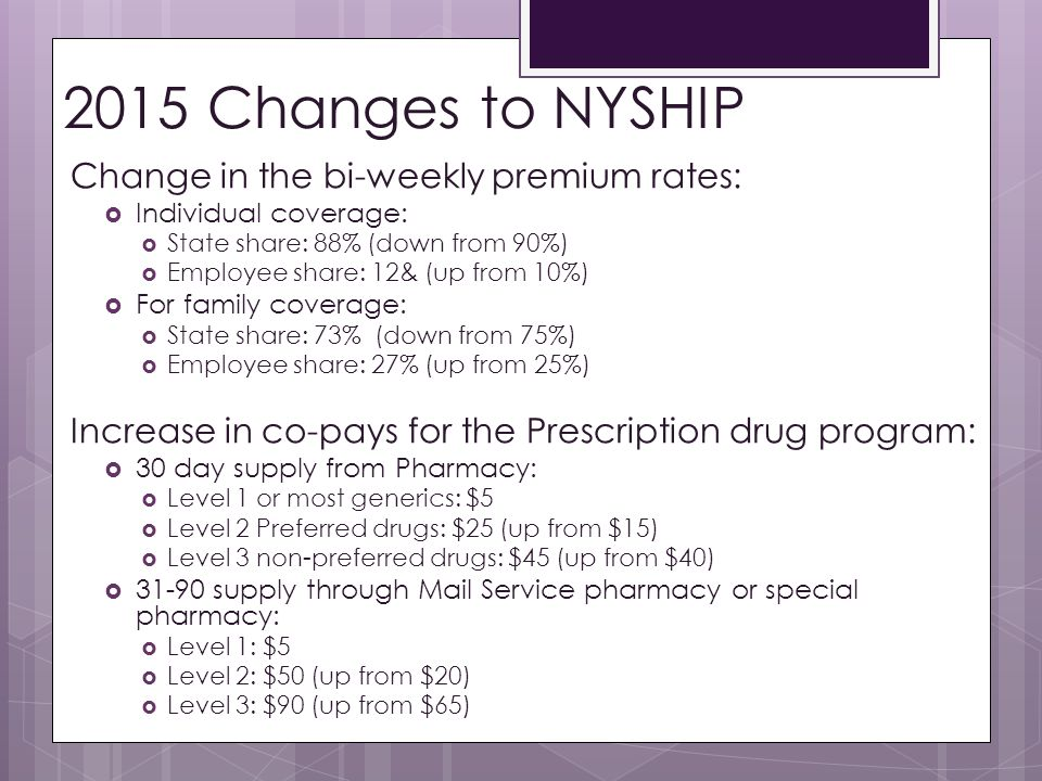 2015 Changes to NYSHIP Change in the bi-weekly premium rates: