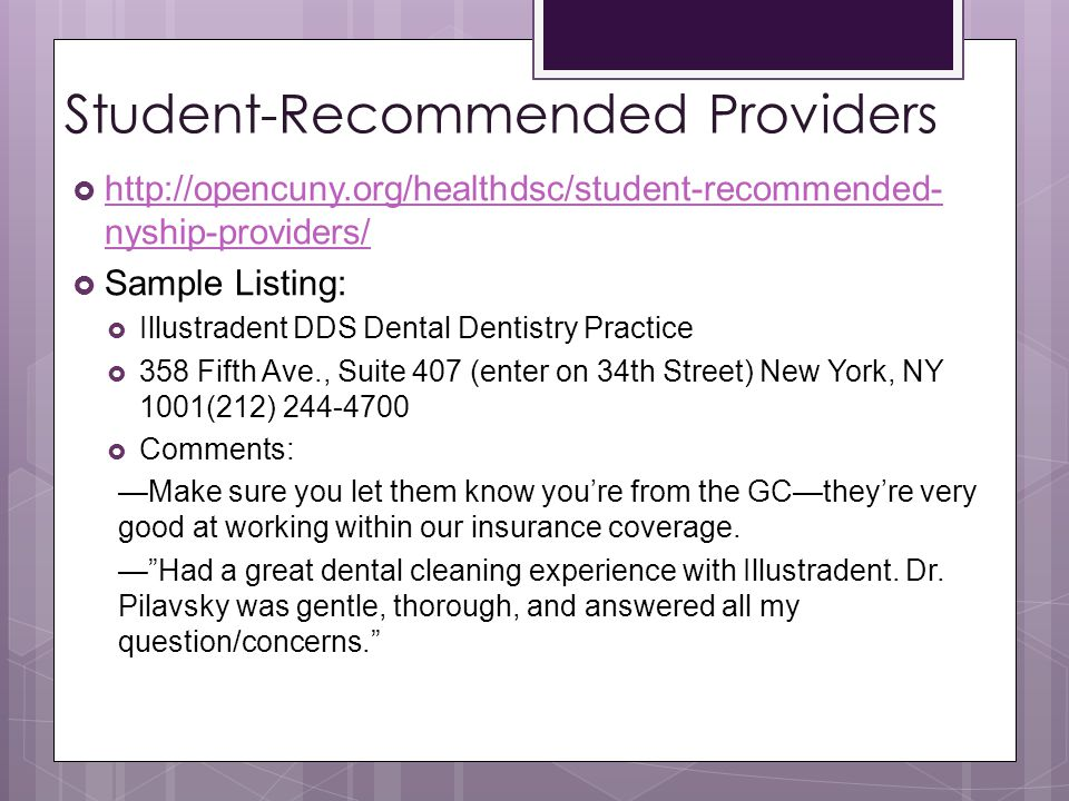 Student-Recommended Providers