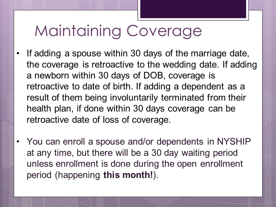 Maintaining Coverage