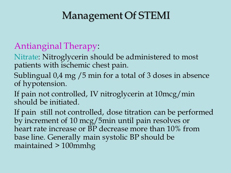 Management Of STEMI Antianginal Therapy:
