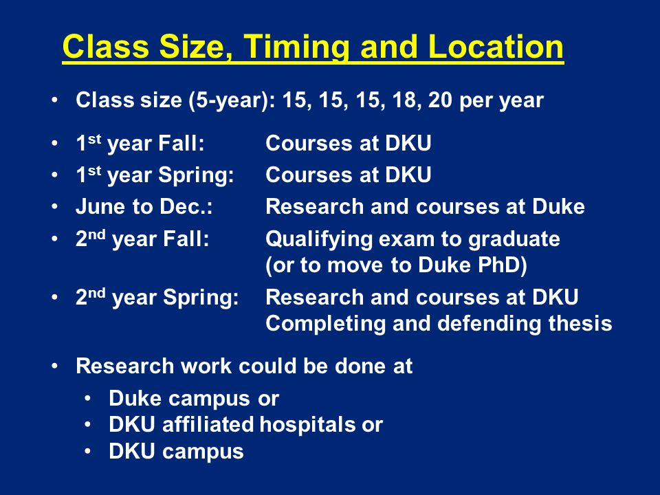 Class Size, Timing and Location