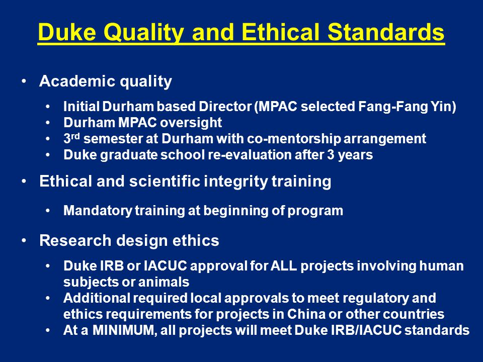 Duke Quality and Ethical Standards