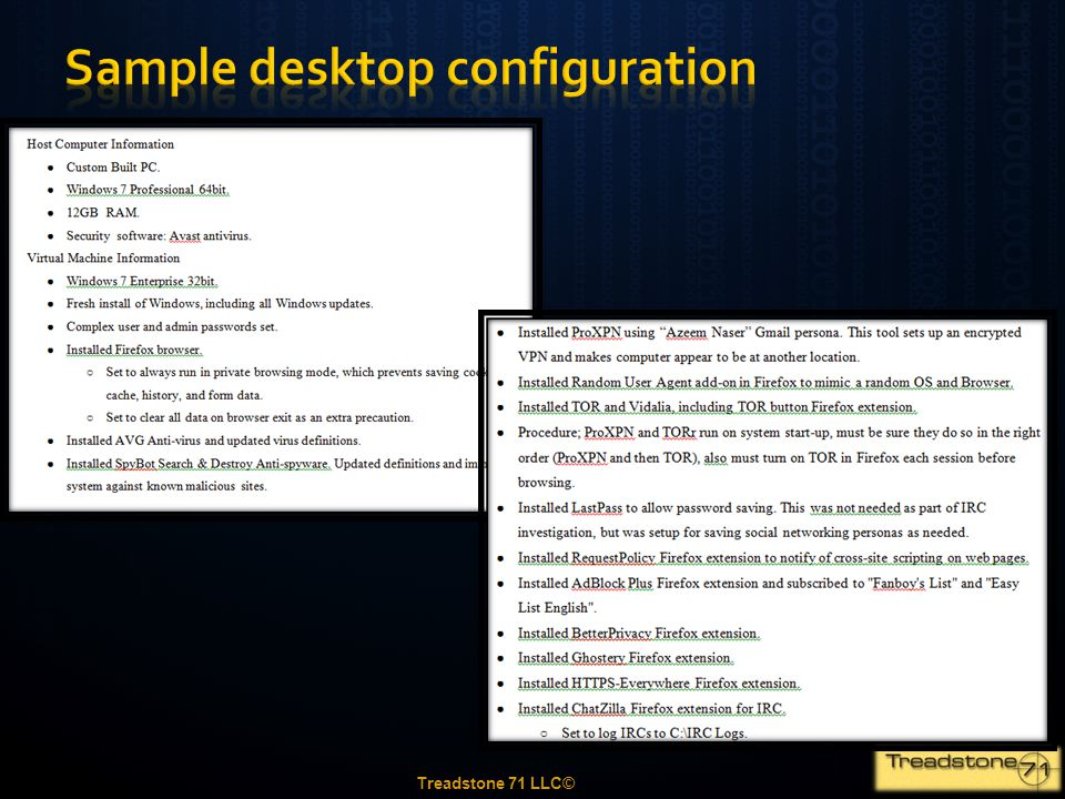 Sample desktop configuration