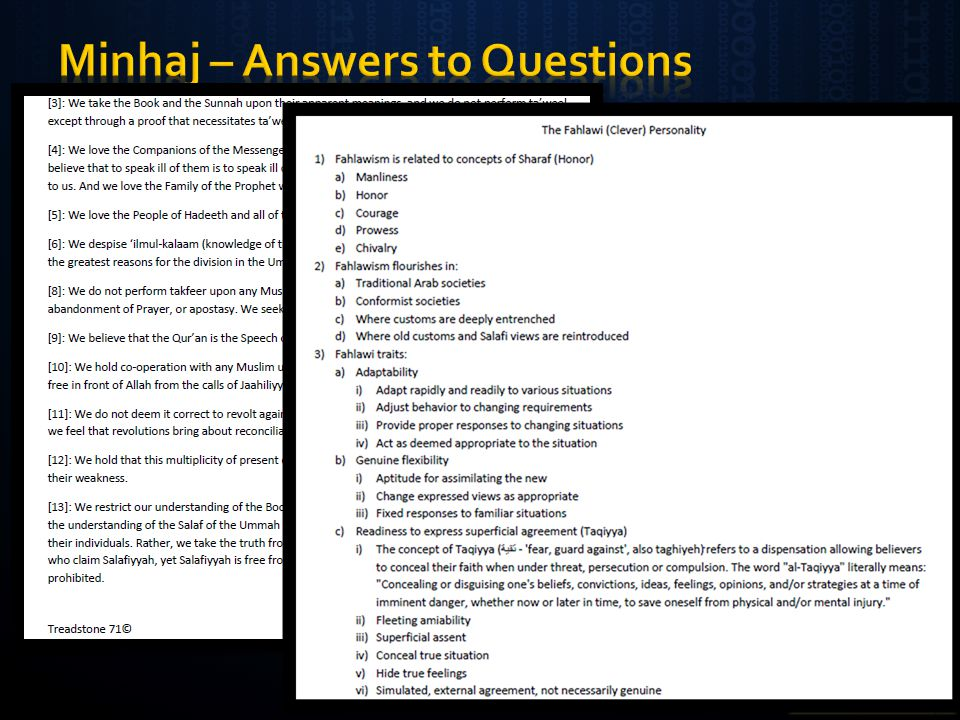 Minhaj – Answers to Questions