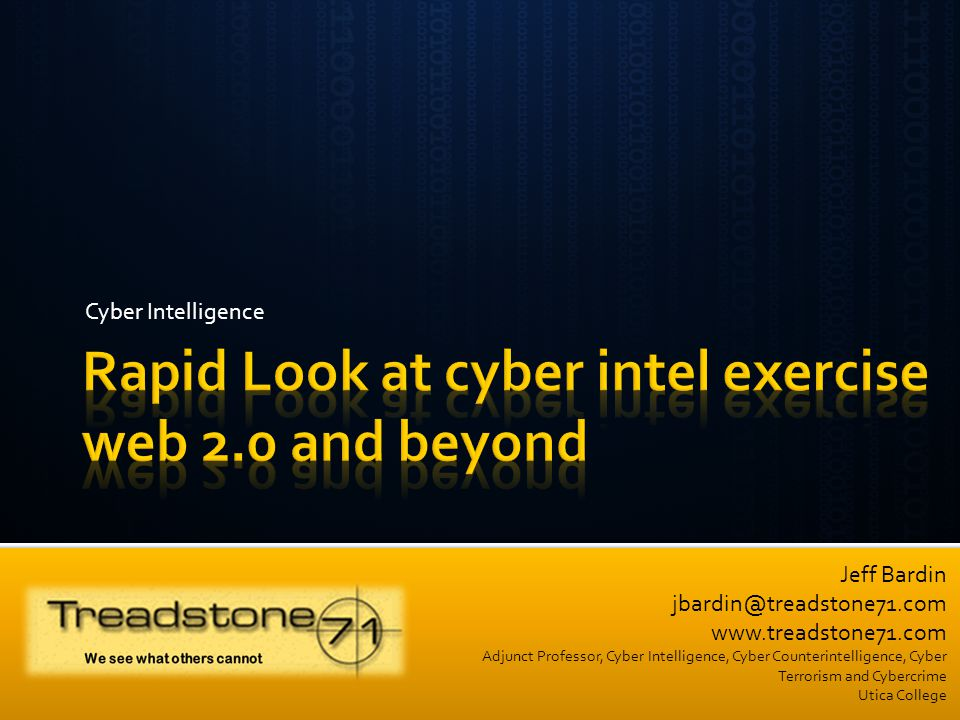 Rapid Look at cyber intel exercise web 2.0 and beyond