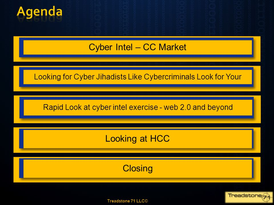 Agenda Cyber Intel – CC Market Looking at HCC Closing