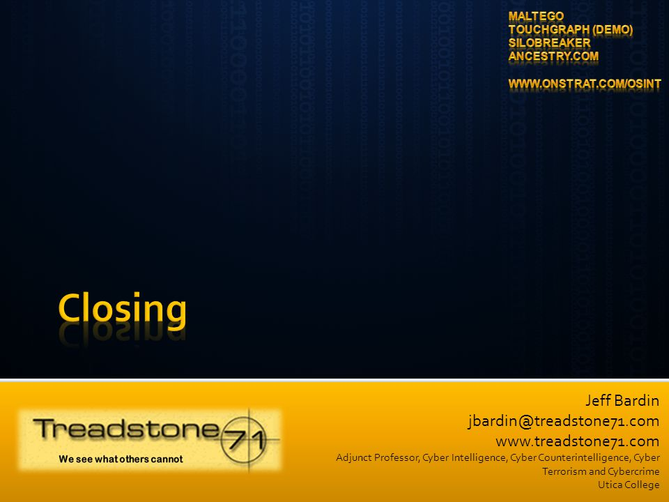 Closing Maltego Touchgraph (Demo) Silobreaker Ancestry.com