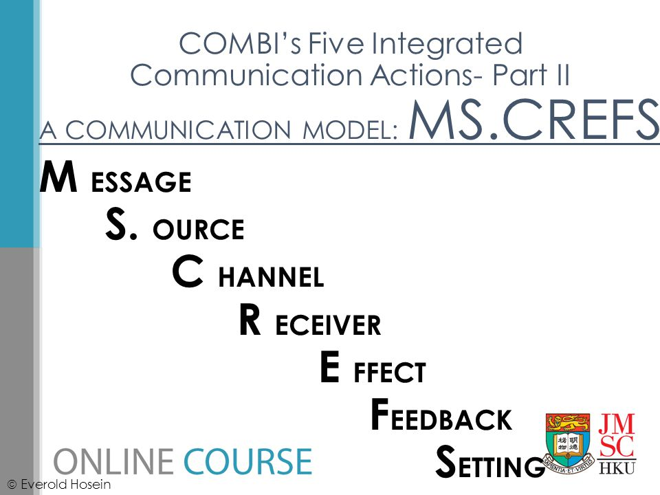COMBI's Five Integrated Communication Actions- Part II