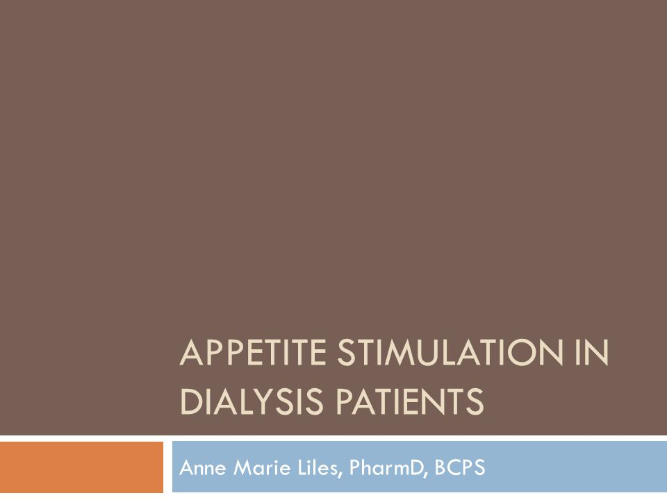 Appetite stimulation in dialysis patients