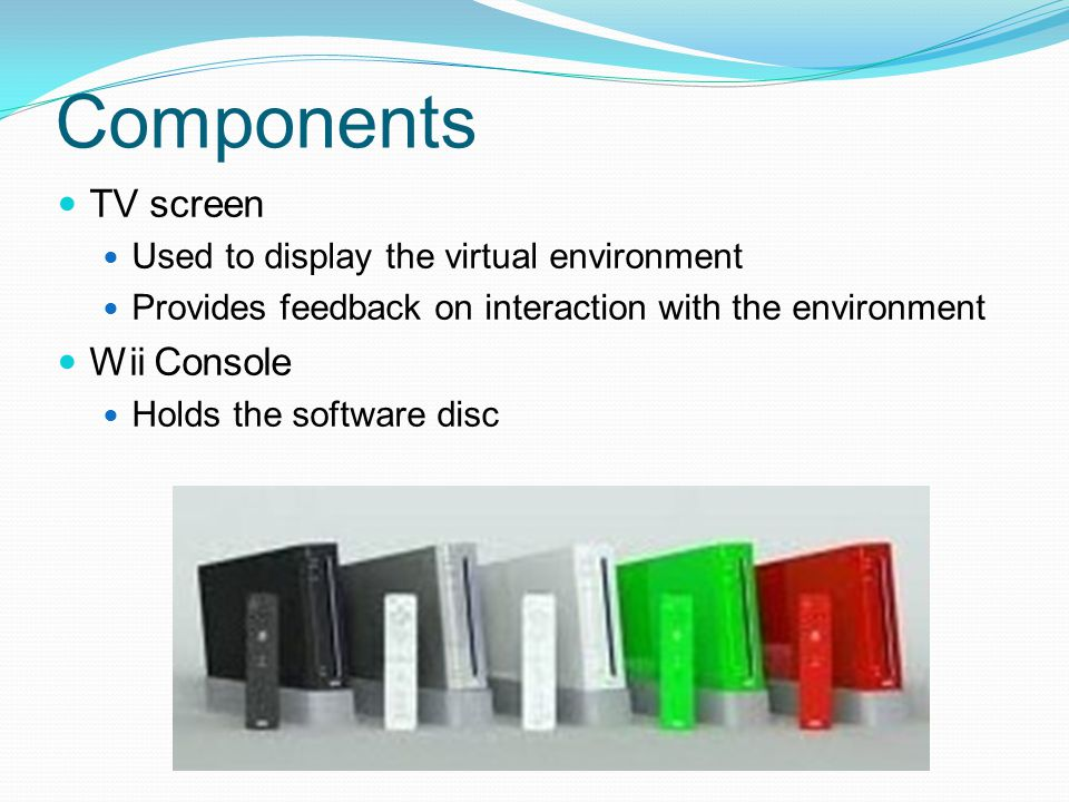 Components TV screen Wii Console