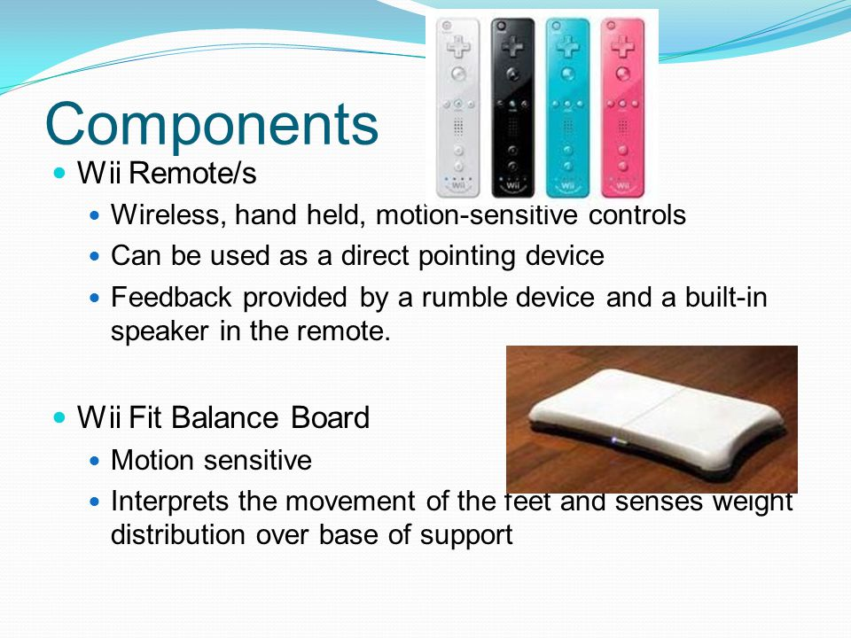 Components Wii Remote/s Wii Fit Balance Board