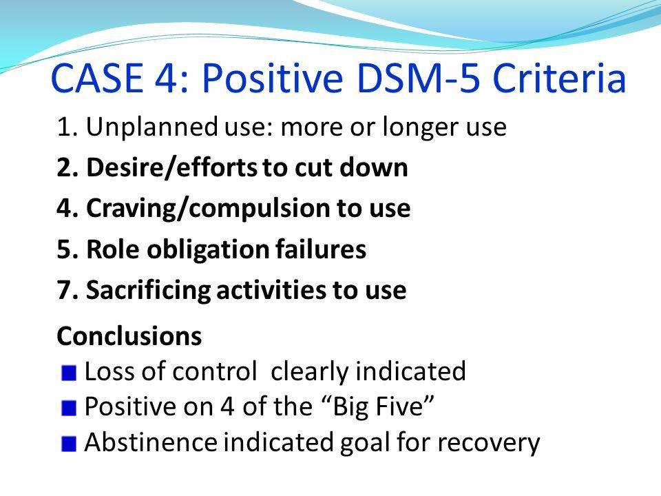 CASE 4: Positive DSM-5 Criteria
