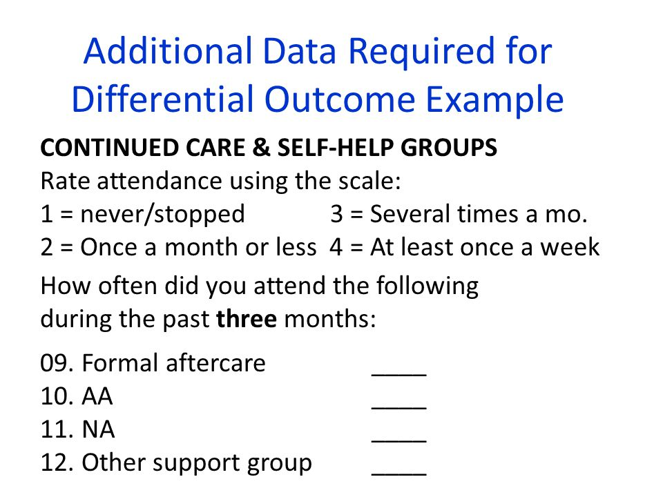 Additional Data Required for Differential Outcome Example