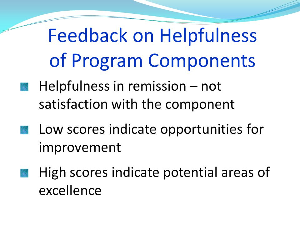 Feedback on Helpfulness of Program Components
