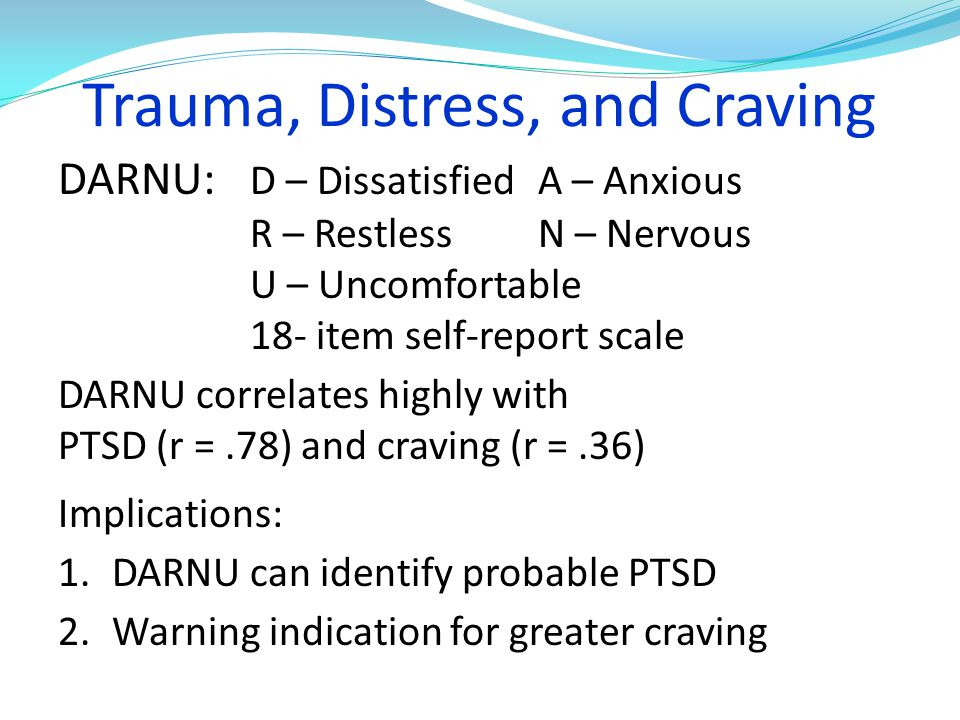 Trauma, Distress, and Craving