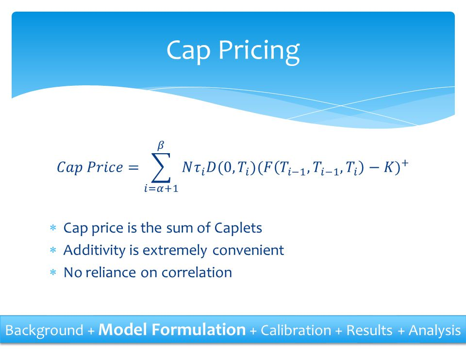 Cap Pricing 𝐶𝑎𝑝 𝑃𝑟𝑖𝑐𝑒= 𝑖=𝛼+1 𝛽 𝑁 𝜏 𝑖 𝐷(0, 𝑇 𝑖 ) (𝐹 𝑇 𝑖−1 , 𝑇 𝑖−1 , 𝑇 𝑖 −𝐾) + Cap price is the sum of Caplets.