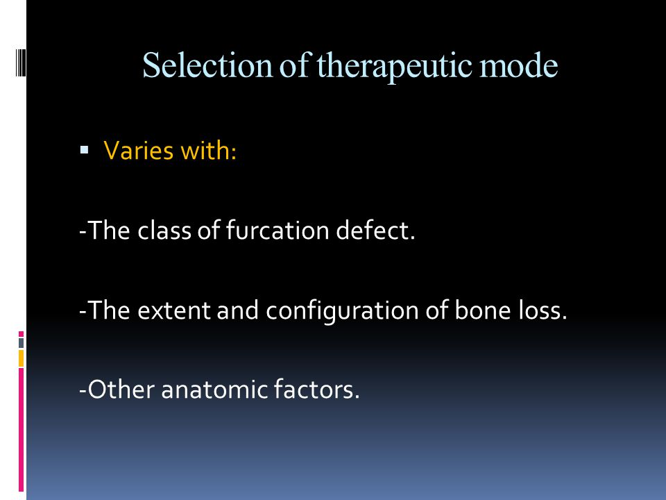 Selection of therapeutic mode