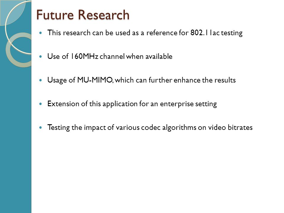 Future Research This research can be used as a reference for 802.11ac testing. Use of 160MHz channel when available.