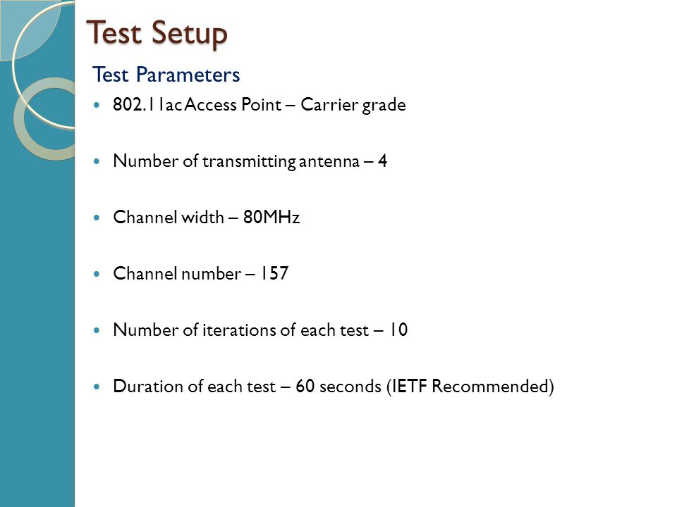 Test Setup Test Parameters 802.11ac Access Point – Carrier grade