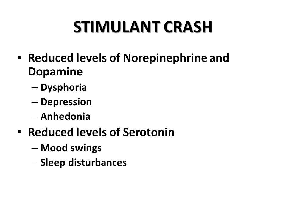 STIMULANT CRASH Reduced levels of Norepinephrine and Dopamine
