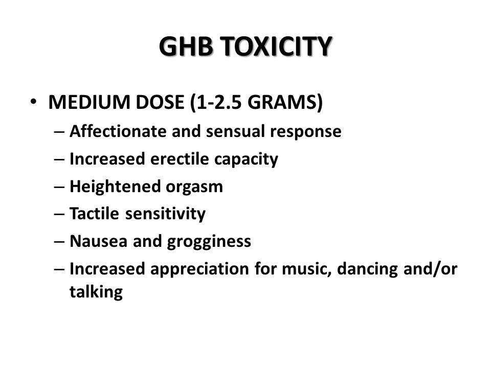 GHB TOXICITY MEDIUM DOSE (1-2.5 GRAMS)