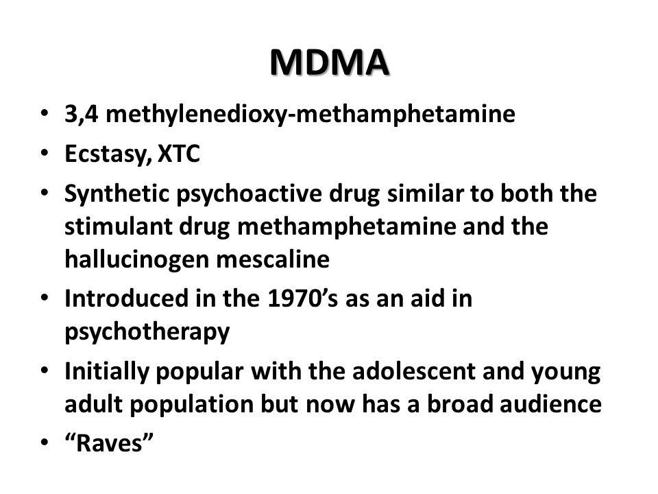 MDMA 3,4 methylenedioxy-methamphetamine Ecstasy, XTC