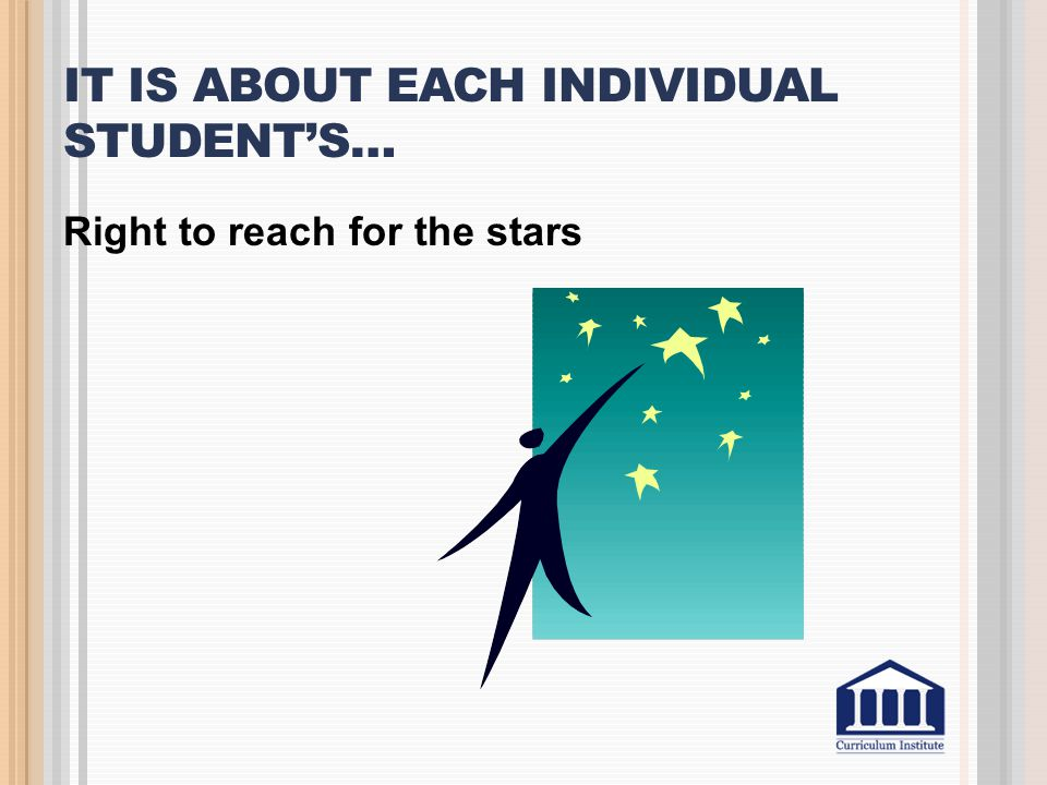 It is about each individual student's…
