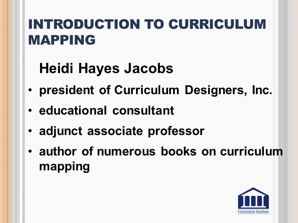 Introduction to Curriculum Mapping