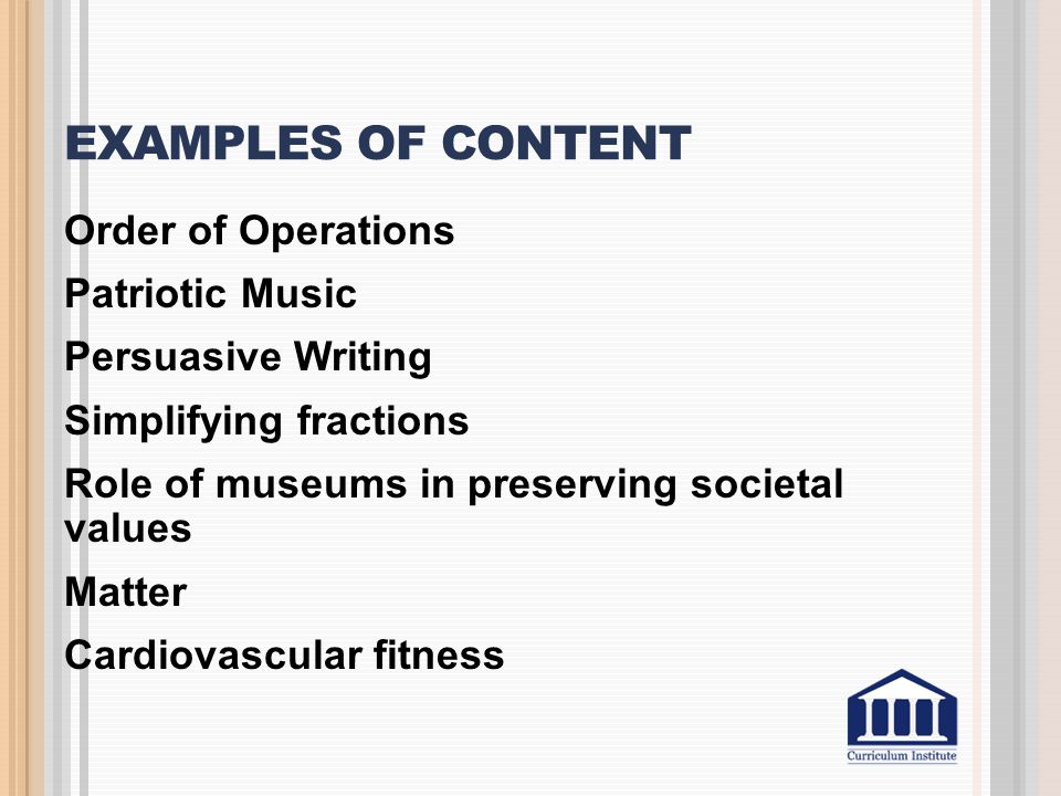 Examples of Content