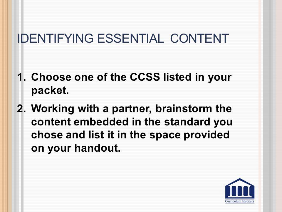 Identifying essential content