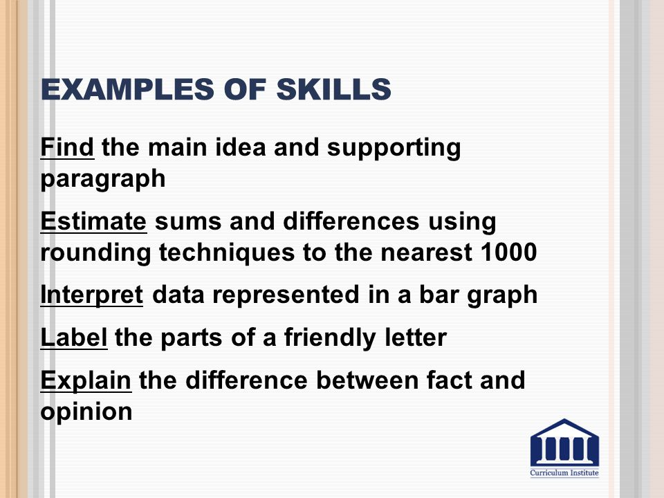 Examples of Skills