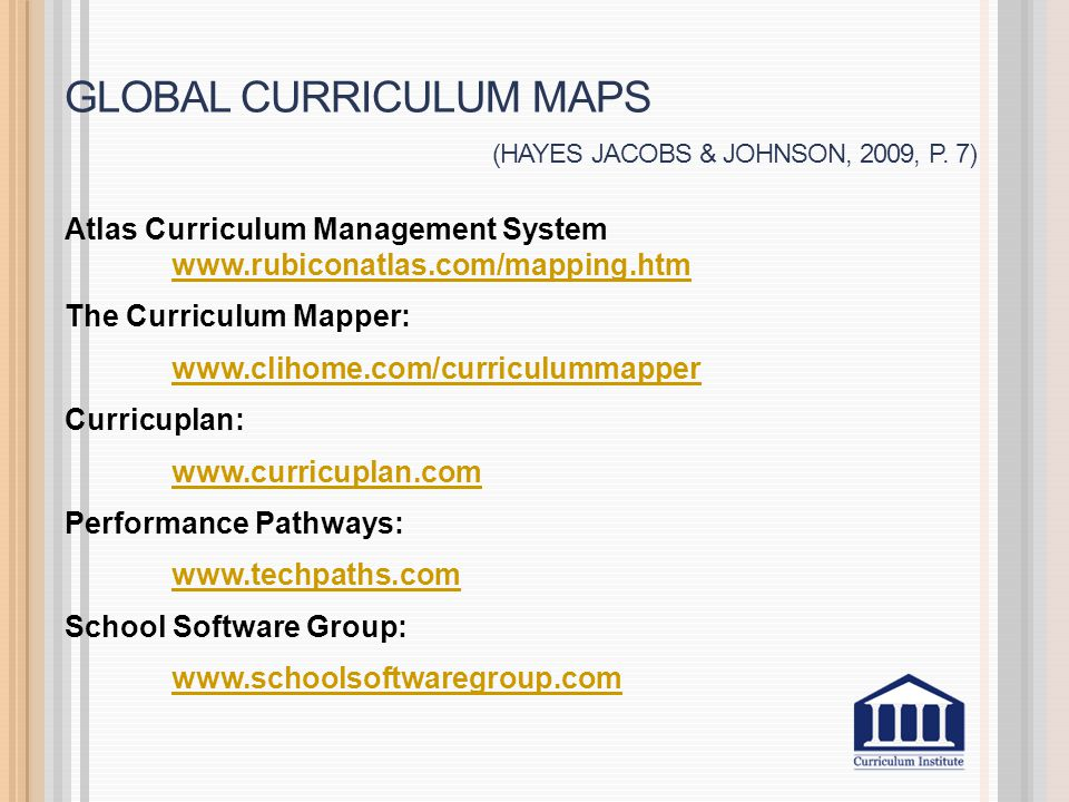 Global curriculum maps (Hayes jacobs & Johnson, 2009, p. 7)