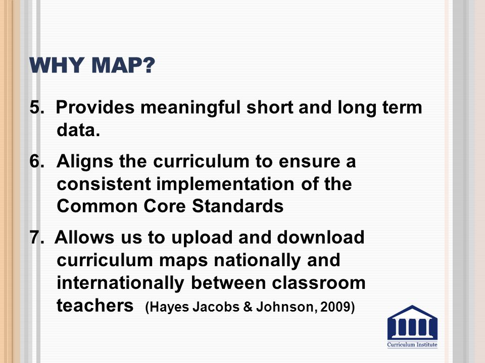 Why Map 5. Provides meaningful short and long term data.