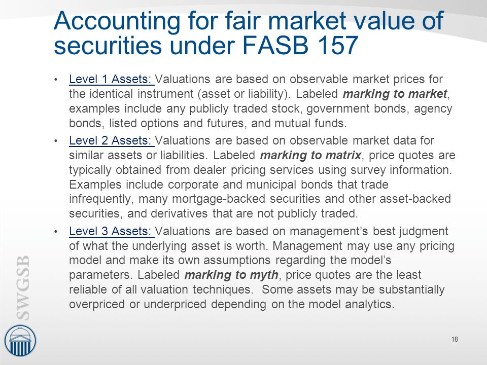 Accounting for fair market value of securities under FASB 157