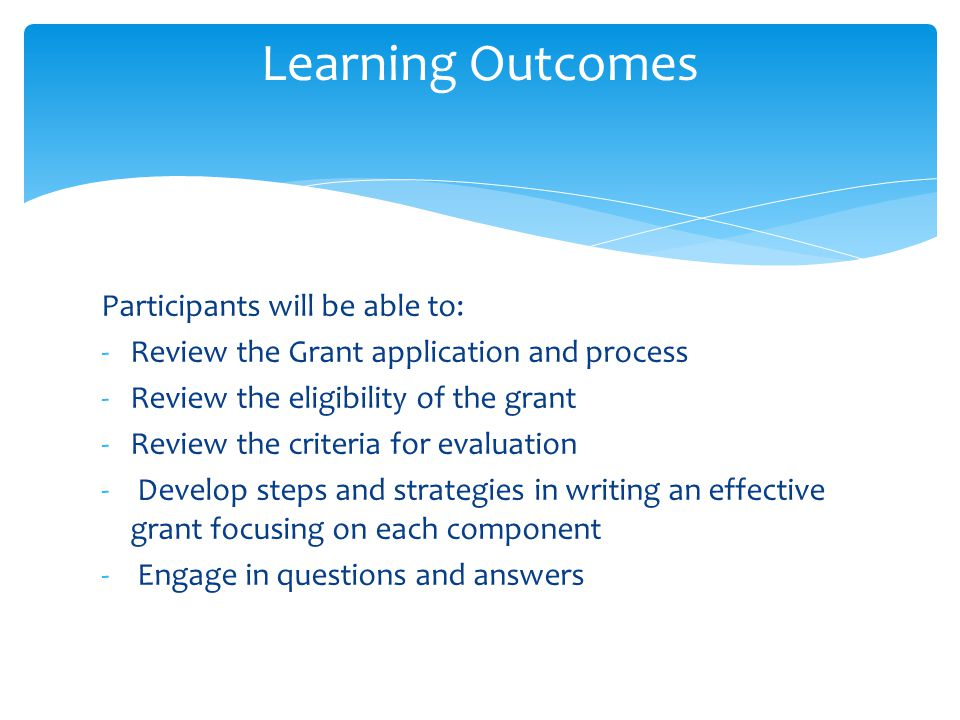 Learning Outcomes Participants will be able to:
