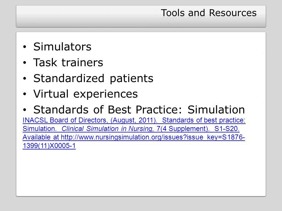 Standardized patients Virtual experiences
