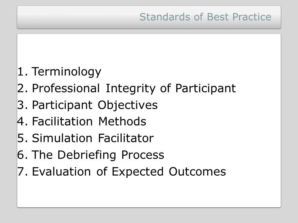 Standards of Best Practice