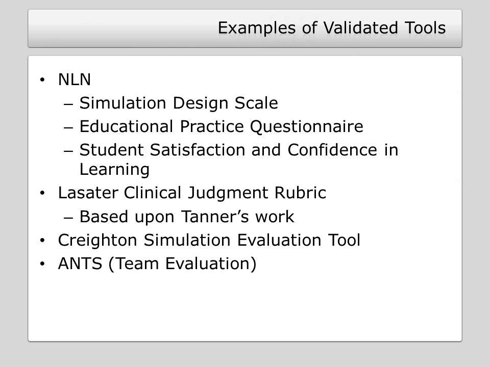 Examples of Validated Tools