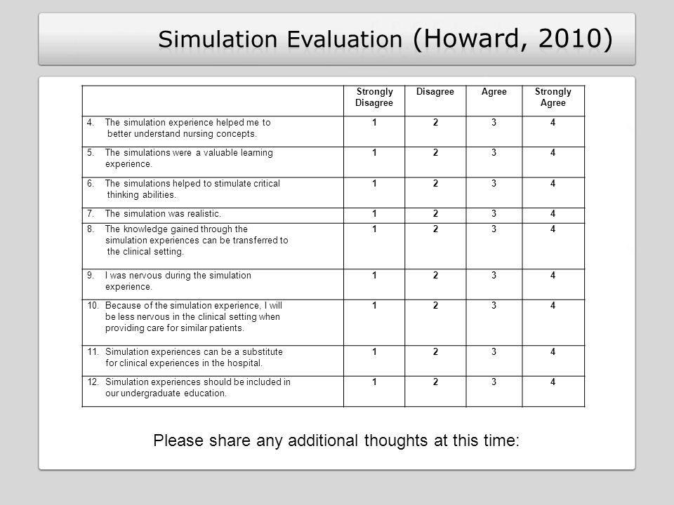 Simulation Evaluation (Howard, 2010)
