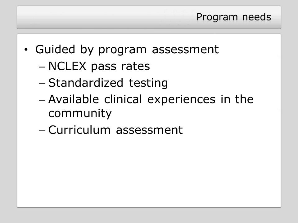 Guided by program assessment NCLEX pass rates Standardized testing